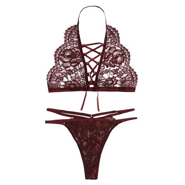 1e3955f9870 bra set Women sexy Lingerie Corset Lace Underwire Racy Muslin Sleepwear  Underwear set Tops+Briefs 2019 women s underwear