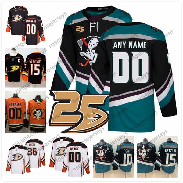 5c6e261e9 Custom Anaheim Ducks 2018 Black Third 25th Jersey Any Name Number men women  youth kid orange white Getzlaf Perry Henrique Rakell 8 Selanne