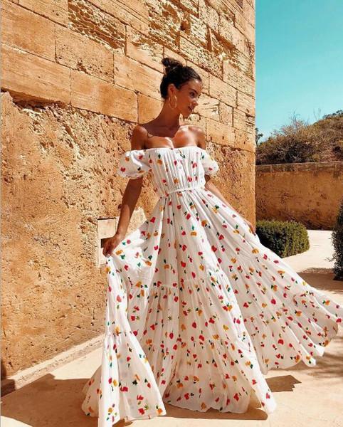Vestido floral del vestido de noche del partido de Boho de las mujeres Vestido largo maxi Vestido de verano Sundress Vestidos ocasionales Envío libre 430-18
