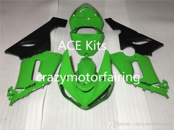 3 regalos gratis Nuevos kits de carenado para 05 06 ZX 6R 636 2005 2006 Ninja ZX6R ZX636 Carenados de ABS Kits de cuerpo ventas calientes verde QRX
