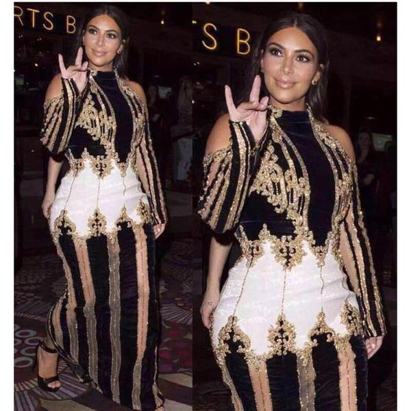 Al por mayor de alta calidad de la moda de París 2017 Pista trabajo de diseño de lujo mano que rebordea el vestido maxi largo del vestido de las mujeres Kim Kardashian