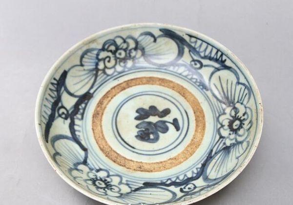 Antique porcelain Jingdezhen blue and white porcelain Antique old plate Blessing plate decoration