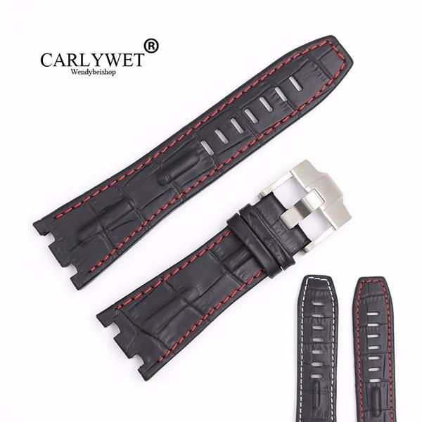 Carlywet 28mm Siyah Gerçek Deri El Yapımı Kalın Bilek Watch Band Kayışı Kemer Kraliyet Meşe Offshore Audemars Piguet 42mm Için T190702