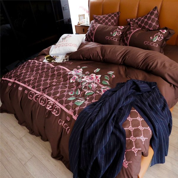 Brown Delicacy Embroidery Bedding Sets Palace Noble European Style Bedding Supplies 4 Season Simple Cotton Duvet Cover Set