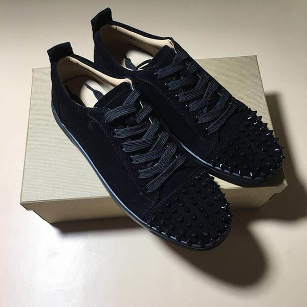 Novo Designer de Moda Sneakers Low Cut Spikes Apartamentos Sapatos Fundo Vermelho causual sapatos Para Homens e Mulheres com caixa