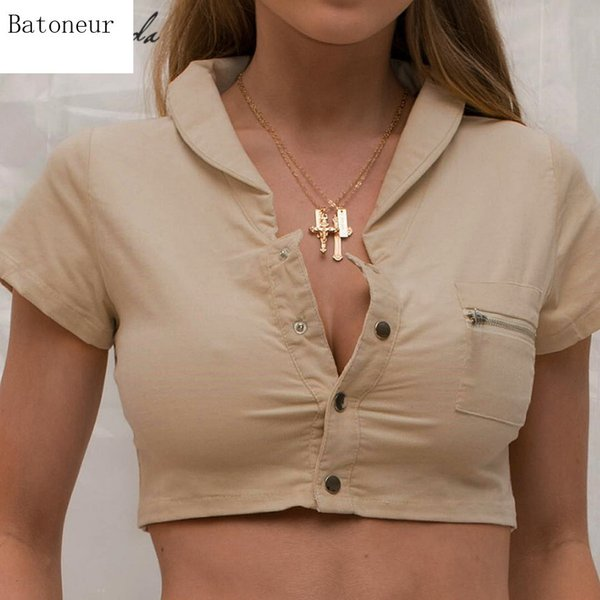 Estate Casual Tooling manica corta T-shirt Donna Crop Top Tee Risvolto Design Khaki Basic Casual Wild Button Short Top