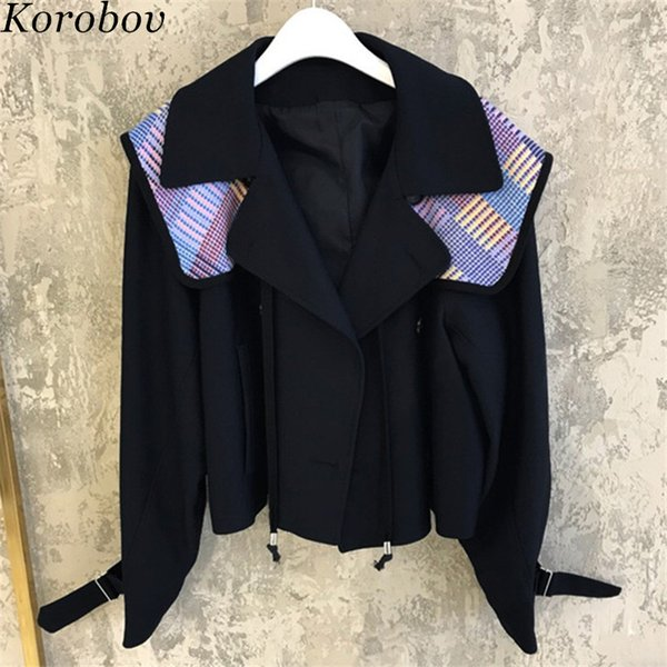 Korobov 2019 New Spring High Street Short Blazer Patchwork Notched Korean Blazers Vintage Casual Single Button Women Coats 76952