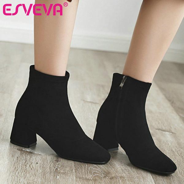 ESVEVA 2020 Kadın Ayakkabı Kış Ayak Bileği Çizmeler Sivri Burun Akın Fermuar Yüksek Topuk Seksi Motosiklet Platformu Çizme Boyutu 34-43