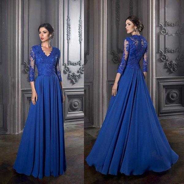 Janique Elegant Royal Blue Mother of the Bride Dresses Long Sleeves Lace Top Exquisite Chiffon A Line Wedding Guest Gowns Cheap Plus Size