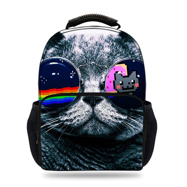 15 zoll 3D Druck Rucksack Katze Schultaschen Für Jungen Mädchen Filz Tier Rucksäcke Für Kinder Jugendliche