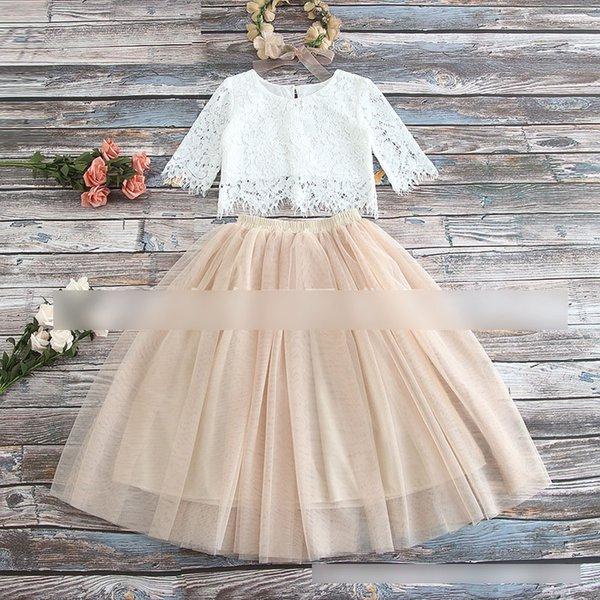 Las niñas de encaje de crochet huecos tops de manga corta + tul faldas tutu 2pcs conjuntos niños princesa trajes 2019 nuevos niños fiesta faldas conjuntos A01593