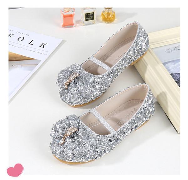 493a8464647 Silver Shiny Cinderella Sequins Shoes Designer Fashion Luxury Brand Girl  Shoes Designer Shoes Full Sequins Kid
