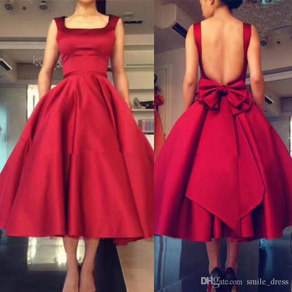 Burgundy Tea Length Short Prom Dresses Backless Big Bow Back With Sash Formal Dresses Satin Evening Party Gowns