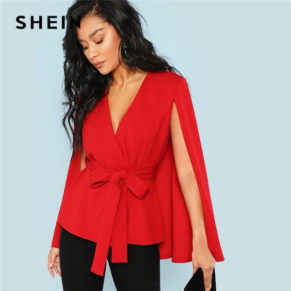 mujer ofertas exclusivas 2020 Compre SHEIN Rojo Elegante Señora De La Oficina Placket Abierto Profundo  Escote En V Manga De La Capa Blazer Sólido 2018 Otoño Highstreet Mujeres ...