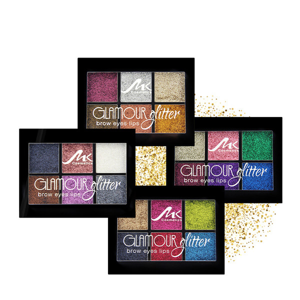 2019new 6 colors sequins Glitter eyeshadow Waterproof Shimmer Eyeshadow palette brow eyes lips Makeup Wholesale