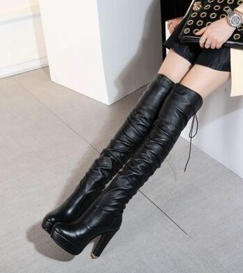 New Arrival Hot Sale Specials Influx Sexy Spike Retro Super Winter Female Plus Black Stovepipe Stretch Large Size Knee Boots EU32-43