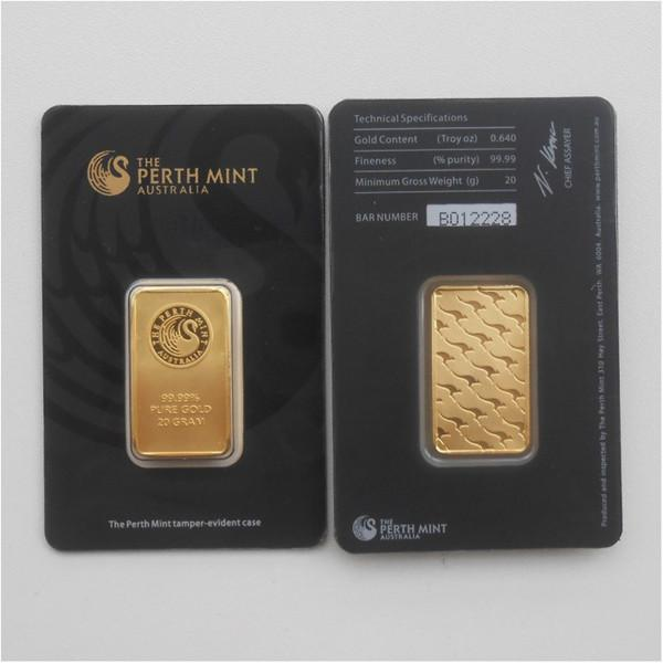 Barra de oro de menta Perth Mint Black 20 gramos