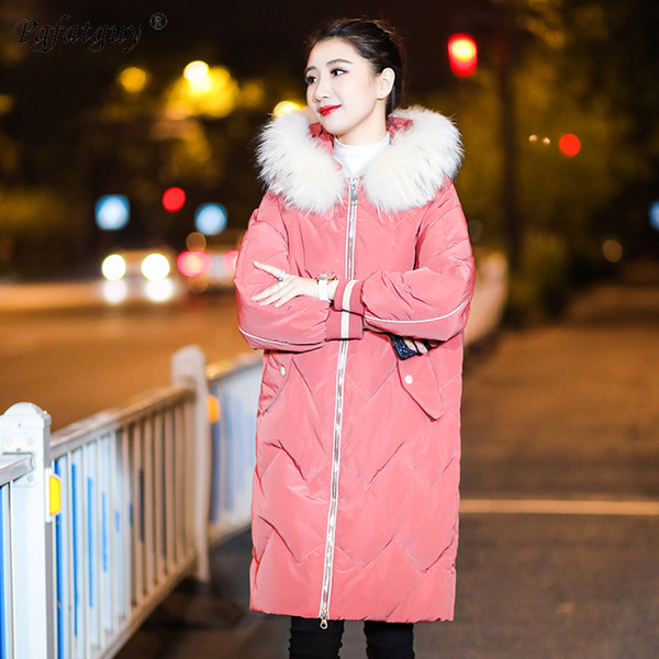 2018 Winter Jacket Women Thick Warm Hooded Parkas Mujer Back Letter Print Down Cotton Padded Coat Pink Loose Slim Jacket Female