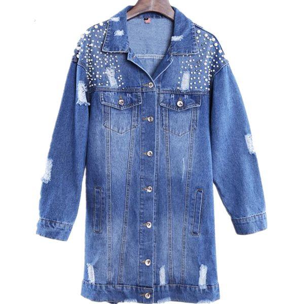 nouvelle perle Denim Vestes Femme Hole Long Sleeve Vintage Jean veste Loose Denim
