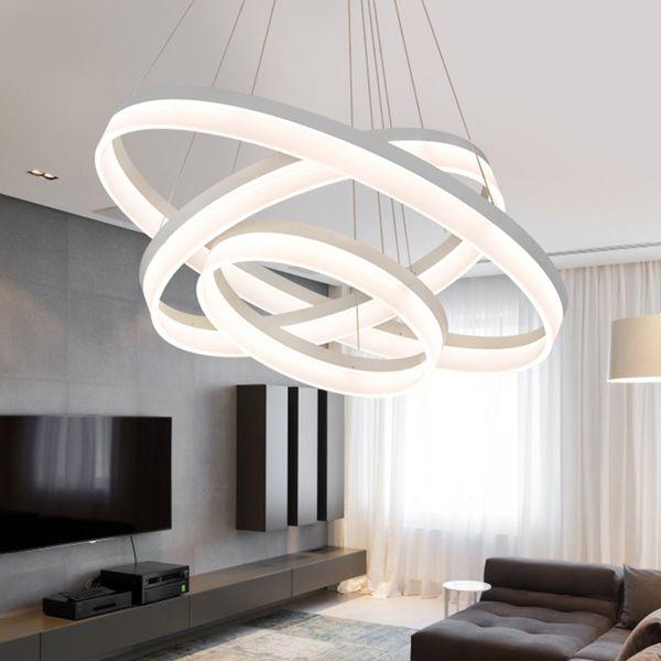 Acheter JESS Moderne LED Pendentif Lumières Pour Salle À Manger Salon  Suspendus Circel Anneaux Acrylique Suspension Luminaire Suspension Lampe ...