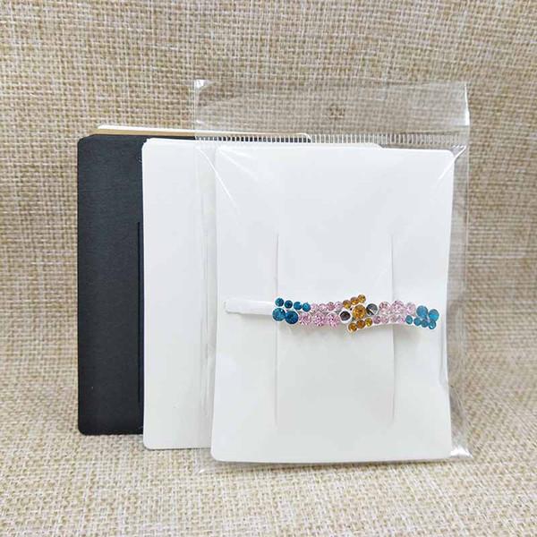 7 * 9cm beyaz / kraft / siyah DIY boş saç tokası ekran kartı kadınlar tokası ürünleri paket kart 100pcs 100 plastik torba