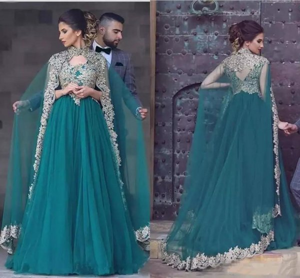 Elegant Hunter Green Arabic Evening Dresses With Gold Lace Appliqued High Neck Long Prom Gowns Indian Women Long Party Dress With Cape