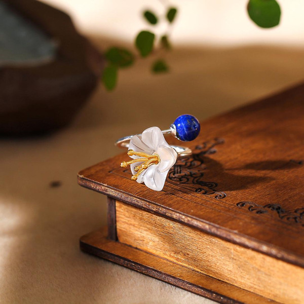 s925 sterling silver flower ring jewelry fashion women natural lapis lazuli ring