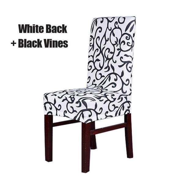 white and Black Stretch Chair Cover