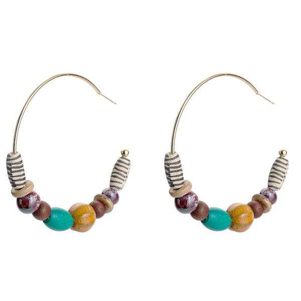 Vintage Color Wooden Beads Drop Earrings Geometric Alloy Gold Plated Big Circle Dangle For Women Bohemian Earrings 2019 Jewelry Accessories