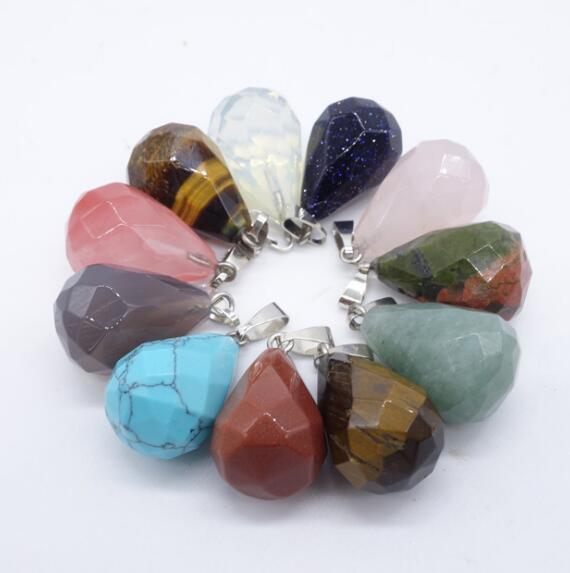 Facet Waterdrop Pendentif En Pierre Naturelle Tear Drop Opale Rose Cristal Druzy Collier Pour Femmes Bijoux En Métal Or
