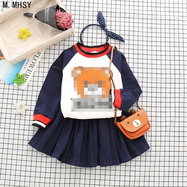 New Baby girl sports clothes Boy Pants Sets kids 2PCS coat children Cute Cartoon bear outfits Children Clothing dress