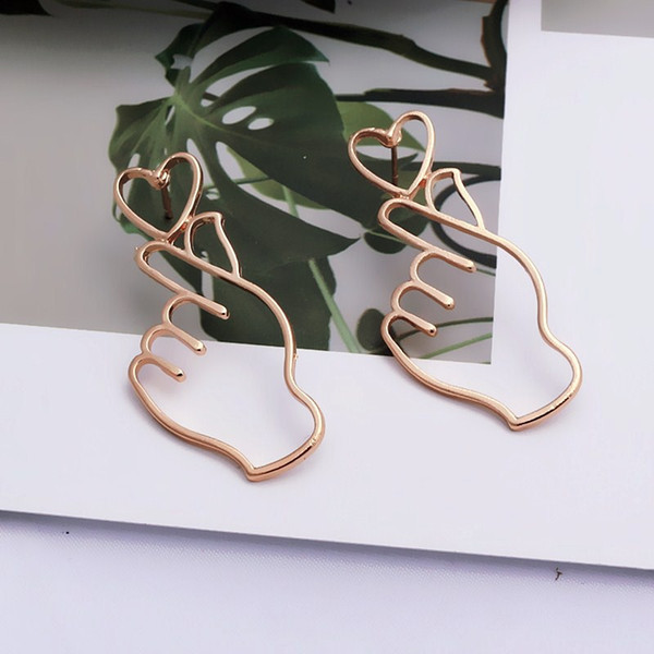 Simple Design Gold Color Hollow Hand Earrings For Women New  Fashion Ear Piercing Heart Gesture Earring Gift