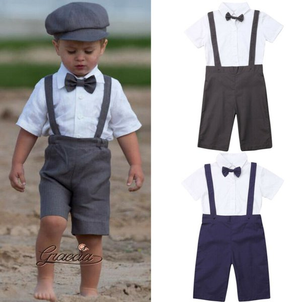 Bébé Garçon Vêtements 3 PCS Nouveau-Né Enfants Bébé Garçon Gentilhomme Tenues Ensembles Chemises + Pantalon + Bavette Nouveau