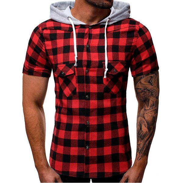 Fashion Men's Tops Summer T Shirt Hooded Pocket Short Sleeve Plaid T-Shirt Casual Streetwear Top Ajax 2019 2020 5.21