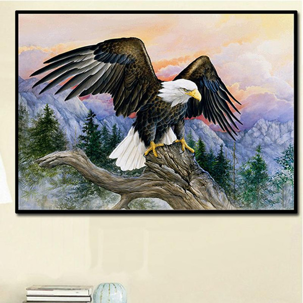New DIY diamond painting eagle spread wings cross-stitch snow mountain eagle 5D mosaic exhibition macro wall decoration painting