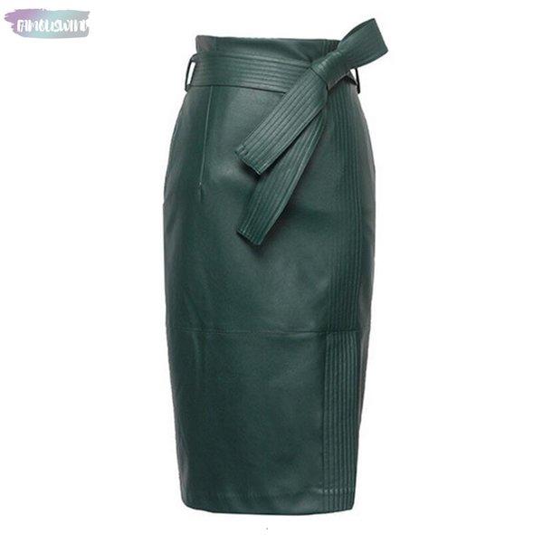 3XL 4XL Pu Кожа Юбка Женщины Плюс Размер Юбки Sexy высокой талией Кожезаменитель осени женщин подпоясанный Мода юбка-карандаш