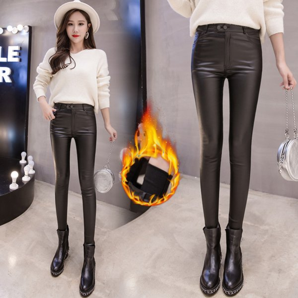 51282f2edc3dcf Leather Pants Female High Waist Autumn and Winter Plus Velvet Leggings  Women Wear Black Pants Female