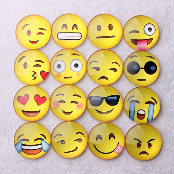 Imán de nevera de vidrio emoji magnético de dibujos animados lindo divertido emoji expresiones faciales titular de mensaje pegatina de refrigerador HHA596