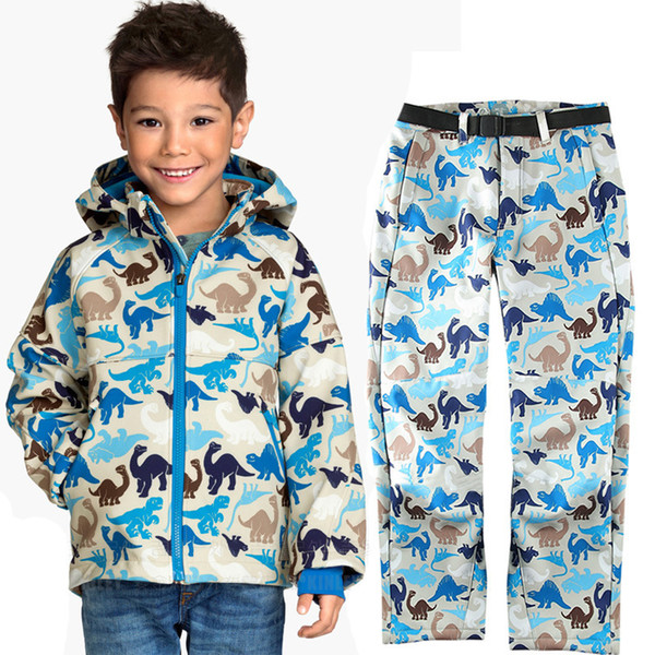 110 -170 cm Kids Outdoor Soft Shell Jacket Pants Waterproof Windproof Clothes Boy Girl Spring Camping Coat Climbing Hiking Suit