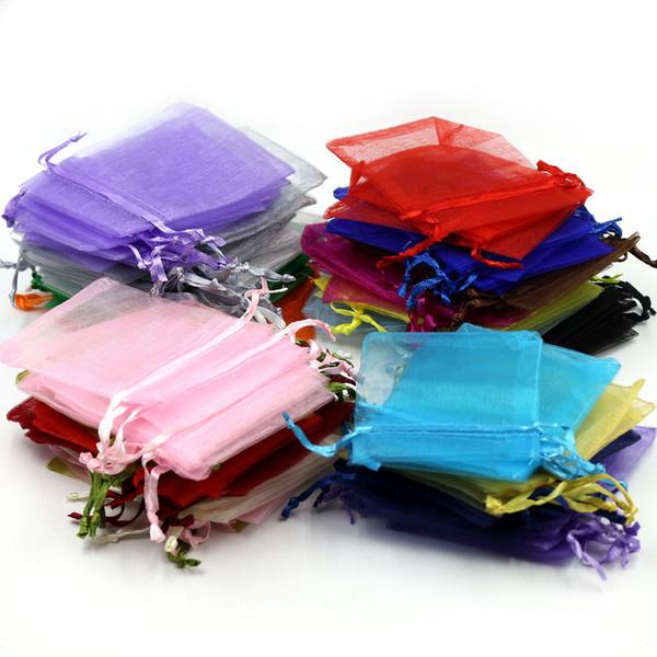 50pcs Sac de bonbons 9x12cm Petit Organza Drawable Sacs Emballages Bijoux Pochettes Sacs Cadeau de Mariage 5ZSH313