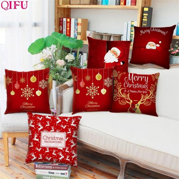 Qifu 45x45cm Elk fiocco di neve Babbo Natale federa Decorazioni di Natale per la casa Natale 2019 ornamento di Natale Xmas Decor SH190916
