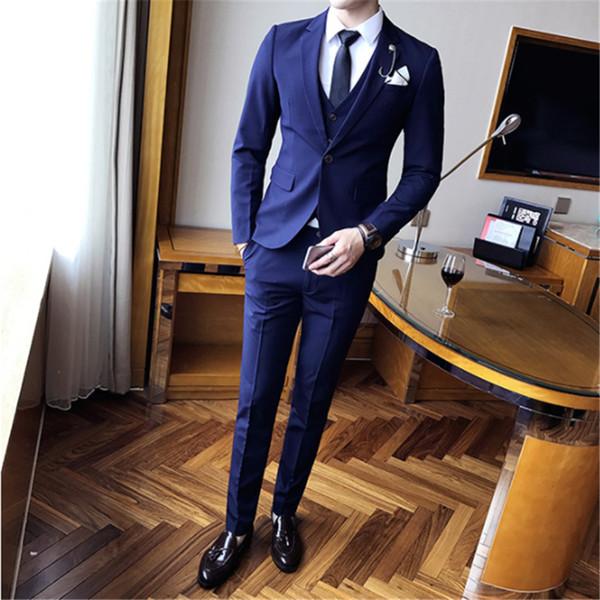 Pure Color Mens Sets Size 4XL Slim Fit Mens Jacket and Pants with Vests 2019, New Men Wedding Set