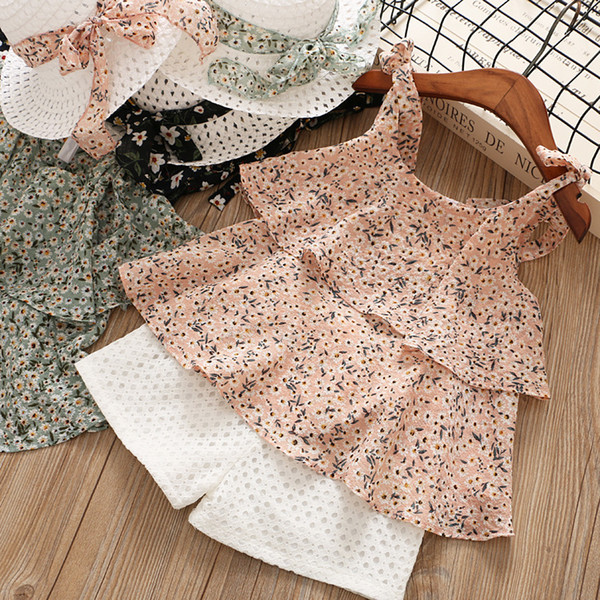 2019 new Summer hot-sale products Sweet Baby Girl Clothes Set Chiffon suspenders + shorts + hats Simple fashion Girl's suit 3colour design
