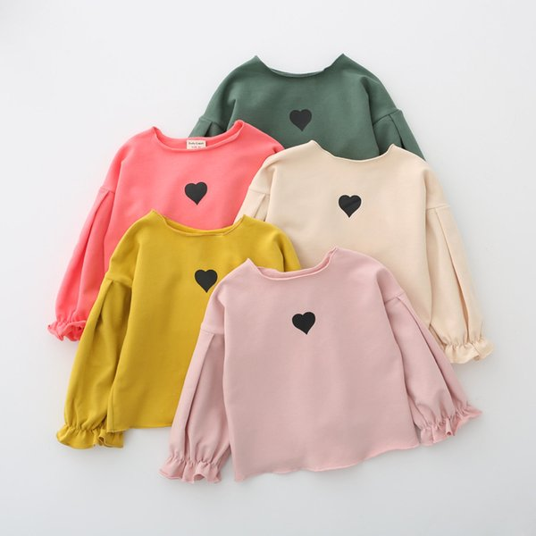 New Fashion Cartoon Love Heart Shape Pattern Toddler Baby Girl Long Sleeve T Shirt Tops for 1-5 Years Girl Lantern Sleeve Blouse