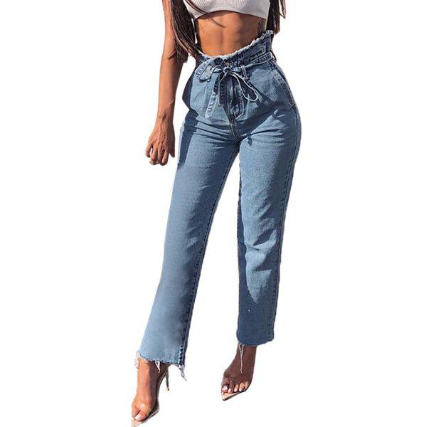 2019 Los jeans más nuevos para mujer Bravo calsas Denim Jeans Hight Waisted Loose Bow Vendaje Hole Stretch Pants Jean vaqueros mujer