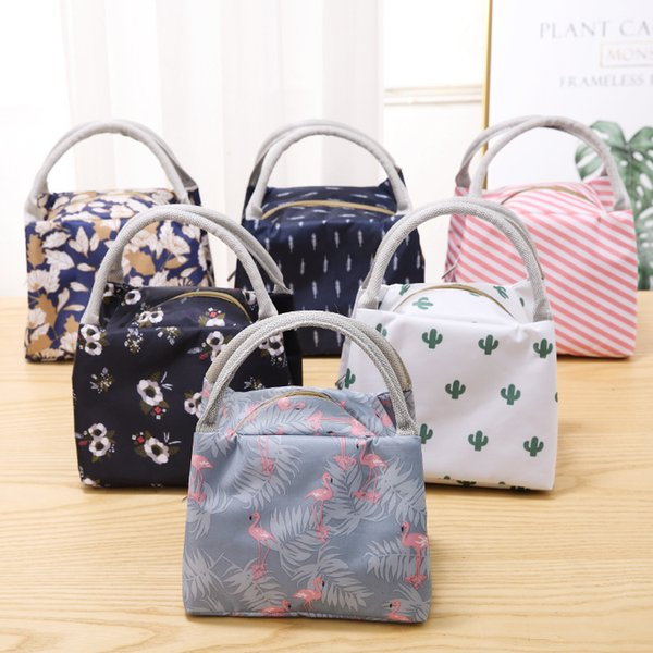 6styles Printed lunch bags tote portable lunch box bag kitchen zipper storage bags outdoor travel picnic thermal bag carry bags FFA2271