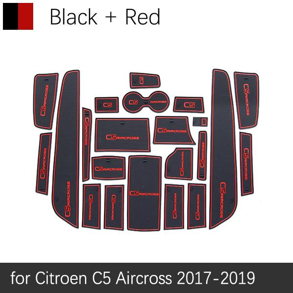 For Citroen C5 Aircross 2017 2018 2019 Anti-Slip Gate Slot Mat Rubber Cup Coaster Accessories Stickers