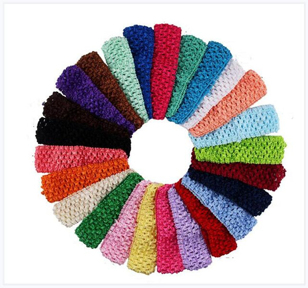 top popular Designer Headband Baby Girl Elastic Crochet Baby headbands 4CM Wide Luxury Baby Accessories 25Colors Free Shipping 2020
