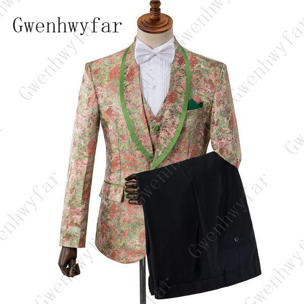 Gwenhwyfar 2019 Fashion Printed Custom 3 Pc Wedding Dress Colorful Floral Men Suits Terno Masculino Casual Suits Slim Fit Tuxedo