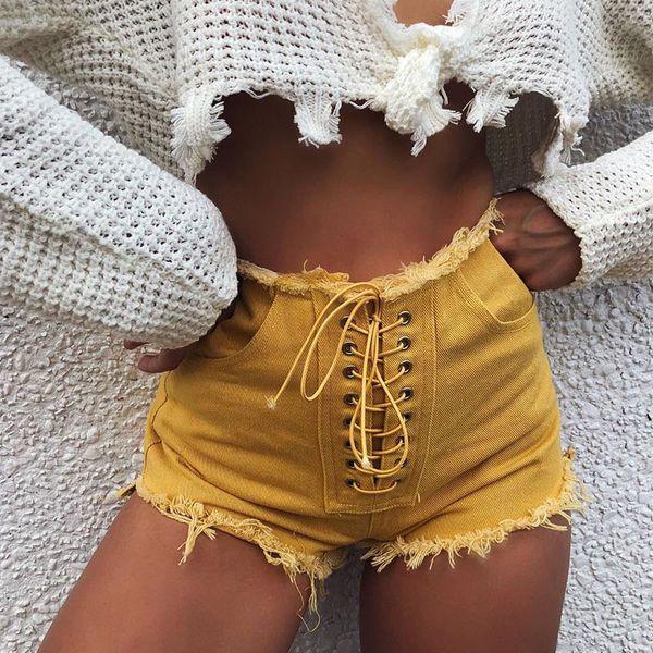 2019 Yaz Kadın Kravat Sapanlar Denim Şort Lace Up Seksi Yüksek Bel Bandaj Ile Cebi Ile Jean Streetwear Sarı Şort Ripped